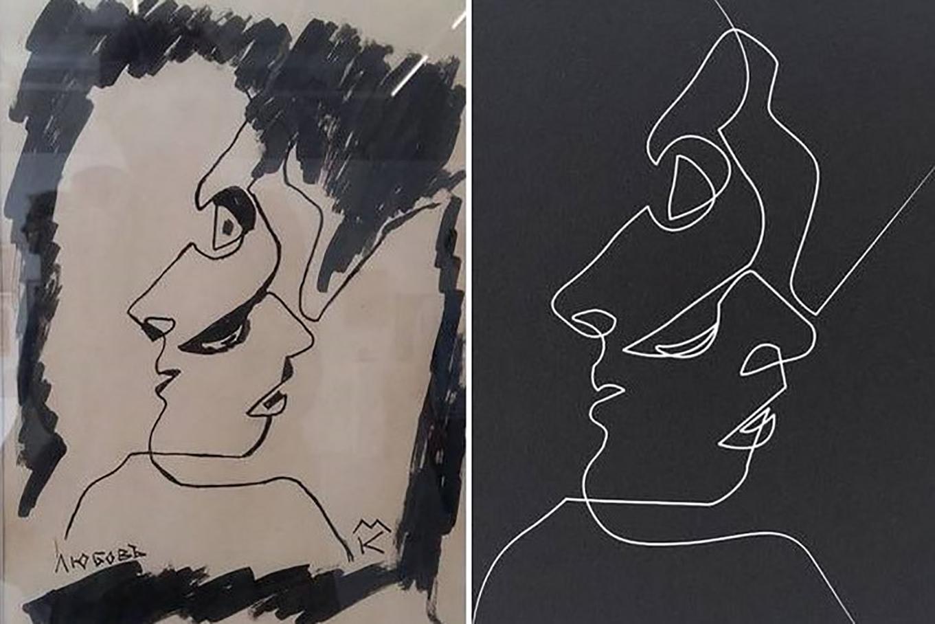 À gauche, le dessin attribué (selon le catalogue d'exposition) au peintre Marco Kraculev (mort en 1972). À droite, le portrait de Glenn Close par l'artiste français Quibe.
