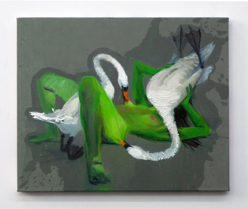 """Nina Childress, """"Sex mit Schwan 2"""" (2009). 49,5 x 60, 5 cm. Huile sur toile. Collection Martine de la Codre © Aurélien Mole / ©ADAGP, Paris, 2020"""