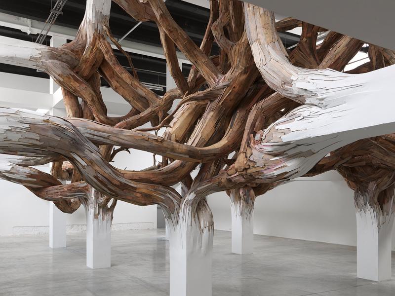 """Henrique Oliveira, """"Baitogogo"""", vue de l'installation au Palais de Tokyo (2013). Courtesy de l'artiste, de la Galeria Millan, São Paulo, et de la Galerie GP&N Vallois, Paris. Photo : André Morin"""