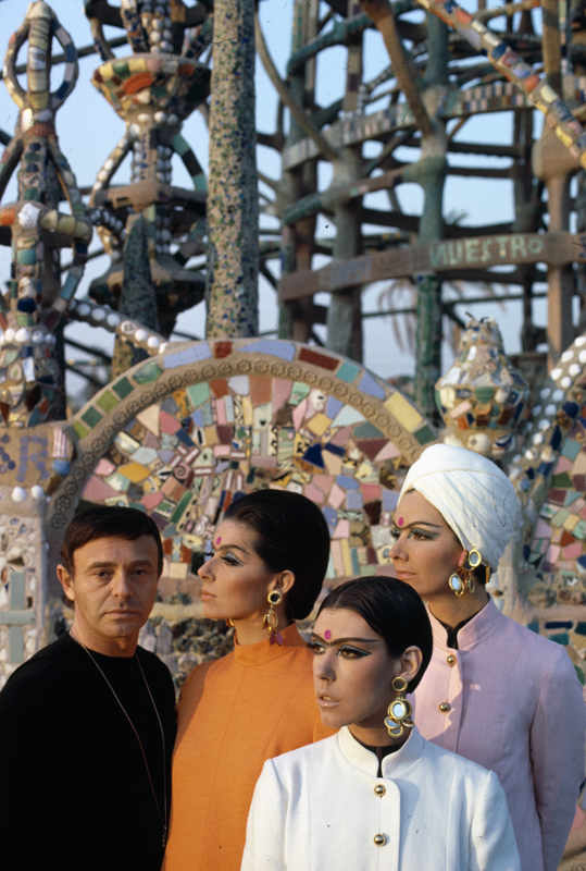 """""""Rudi Gernreich with models wearing his designs in front of Watts Towers"""" (c. 1965). Photograph © William Claxton, LLC, courtesy of Demont Photo Management & Fahey/Klein Gallery Management Los Angeles, with permission of the Rudi Gernreich trademark."""