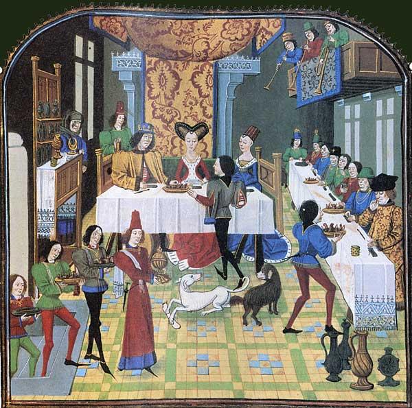 Enluminure du XVe siècle d'un manuscrit de la Chanson des quatre fils Aymon représentant un banquet.
