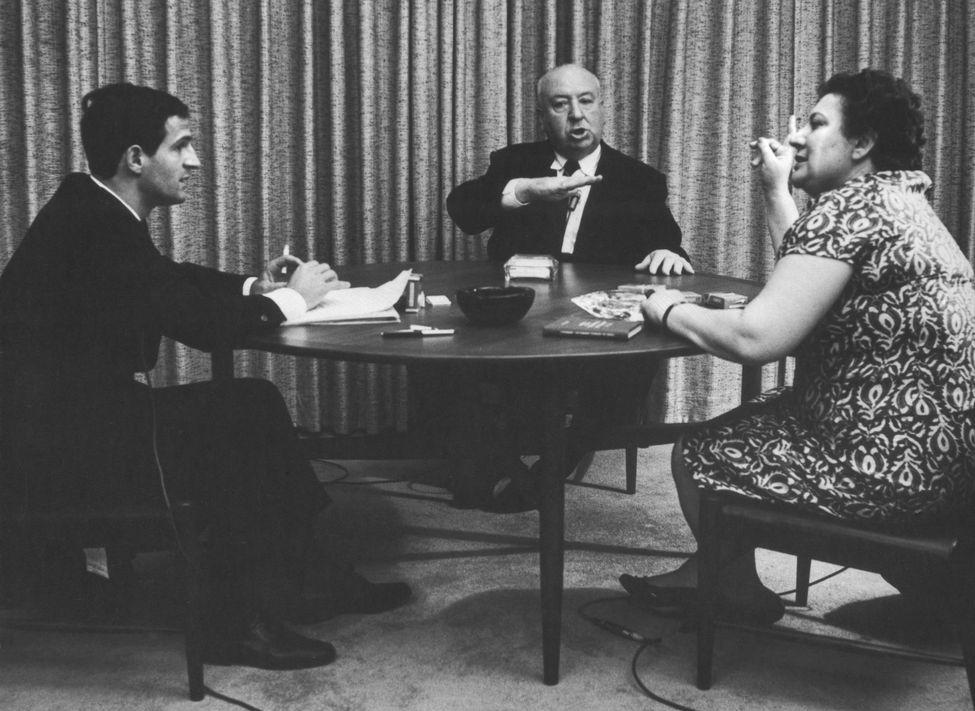 François Truffaut, Alfred Hitchcock et Helen Scott, le 14 juin 1962 Photo Philippe Halsman. Magnum