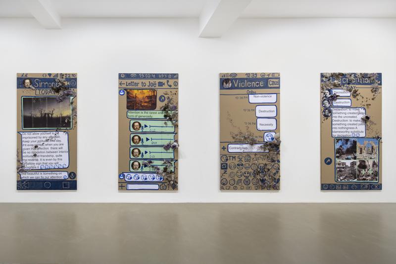 "Thomas Hirschhorn, ""Eternal Ruins"" (2020). Vue d'installation, Galerie Chantal Crousel, Paris, France (07/03 — 11/04/2020). Courtesy of the artist and Galerie Chantal Crousel, Paris Photo : Martin Argyrolglo"
