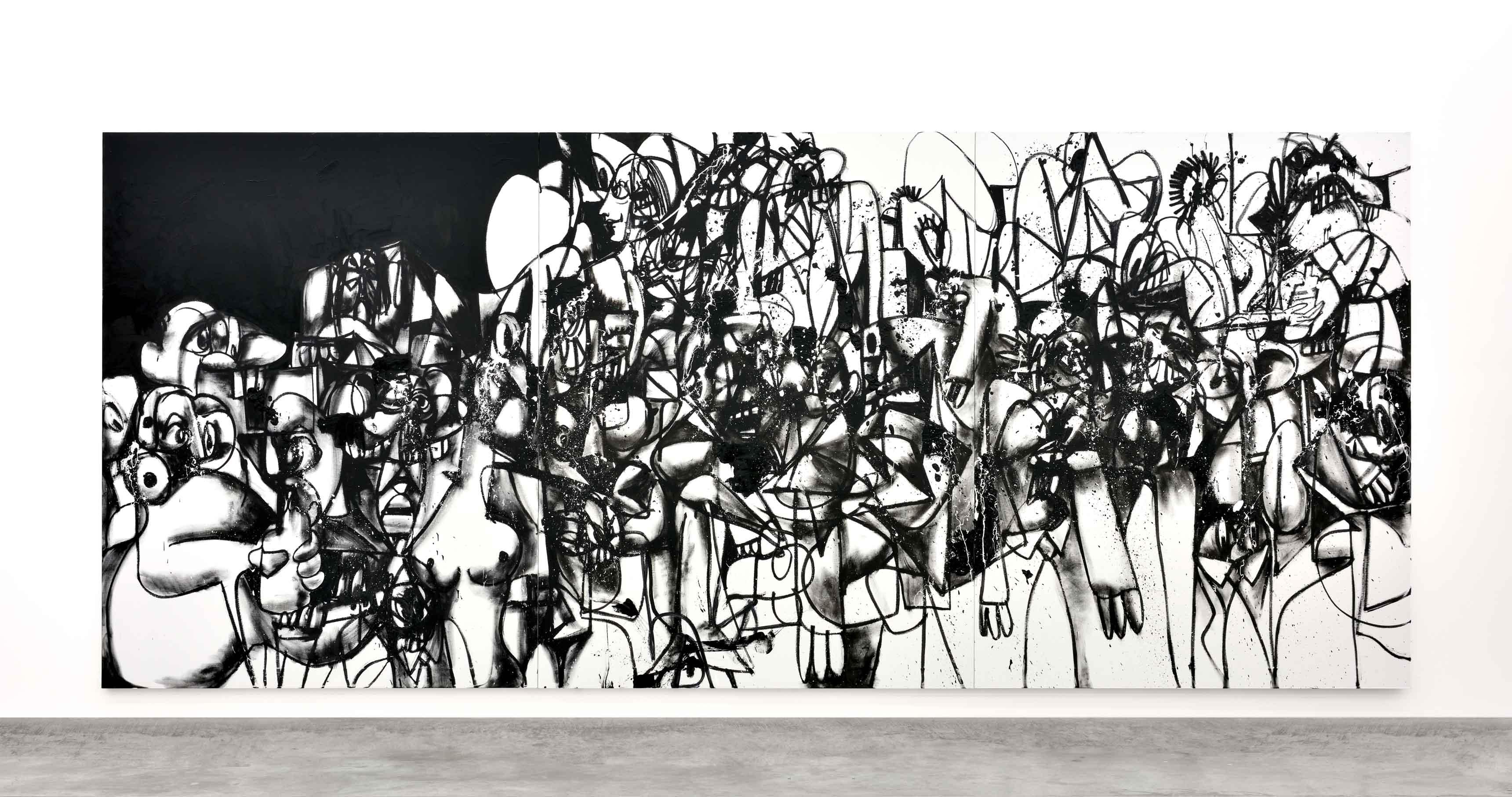 The Investigation (2017). Huile et pigments sur lin (triptyque), 254 x 609,6 cm.