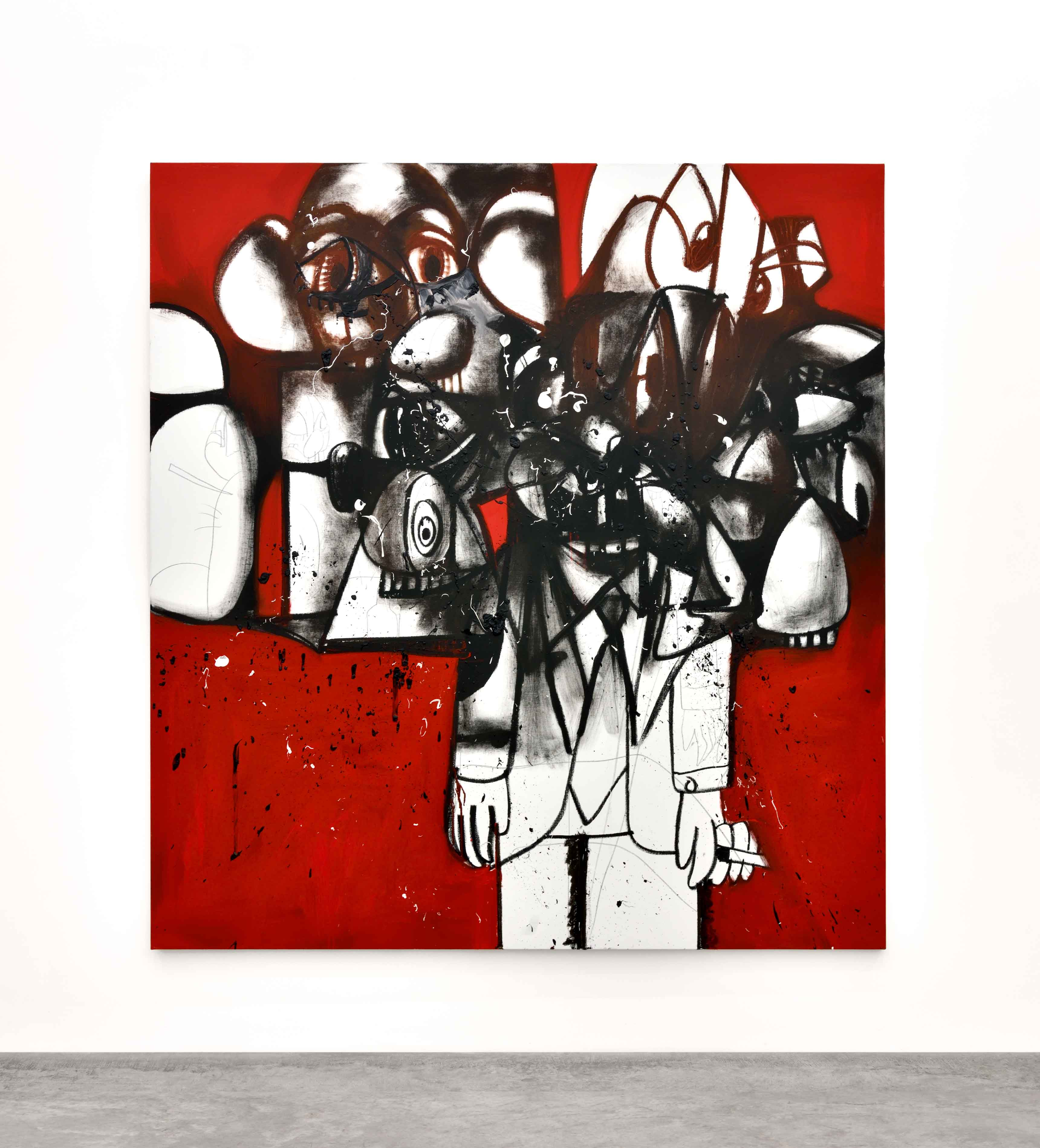 The Last Man Standing (2017). Huile, graphite et pigments sur lin, 203,2 x 190,5 cm.