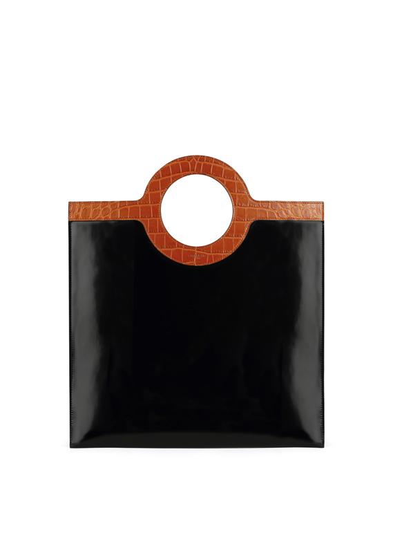 Sac plat en cuir glace noir et cuir embossé façon crocodile marron. GIVENCHY.