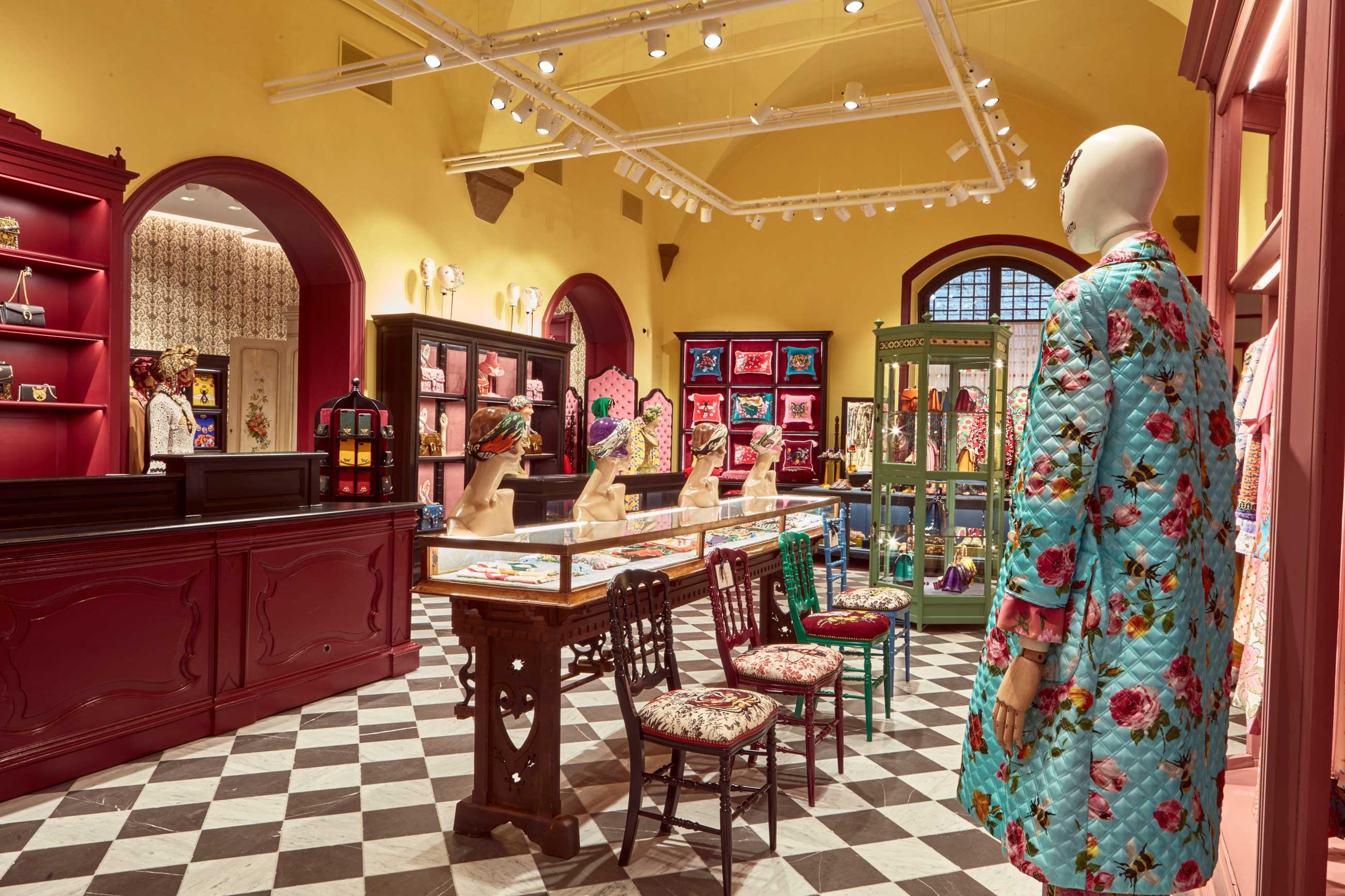 Vue du Gucci Garden, inauguré le 9 janvier 2018 à Florence par Alessandro Michele en marge du Pitti Uomo.