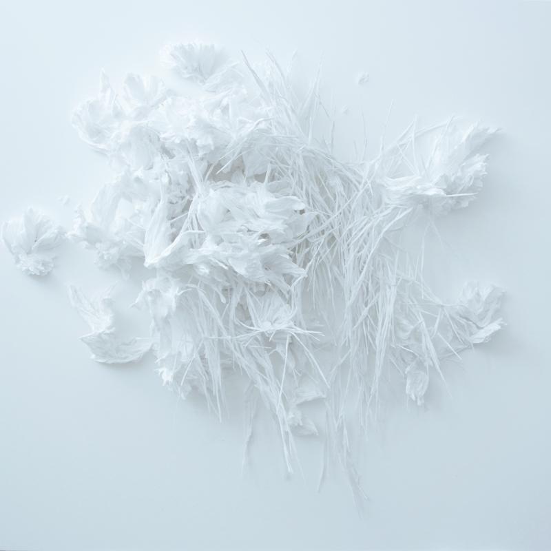 """Claudine Drai, """"Sans titre"""", 2018 Papier de soie sur toile 70 x 70 x 16 cm © Adagp, Paris 2018-2019"""