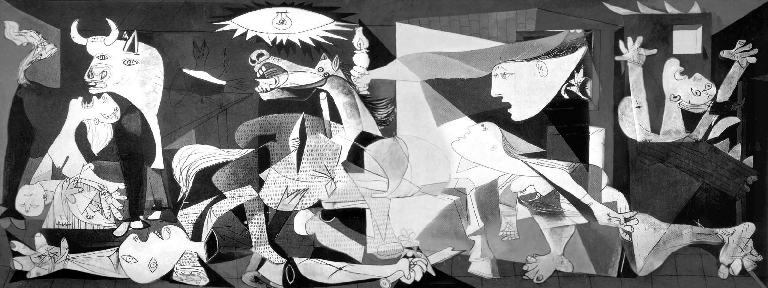 """""""Guernica"""", Pablo Picasso, 1937. Une reconstitution virtuelle en très haute définition célèbre les 80 ans de l'œuvre au musée Reina Sofia de Madrid."""