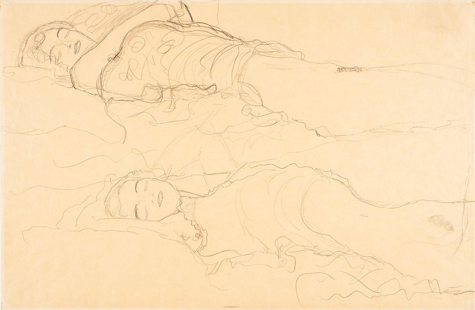 """""""Zwei Liegende"""" (""""Deux femmes allongées"""") de Gustav Klimt, 15 x 10 cm. Photo : Reinhard Haider."""