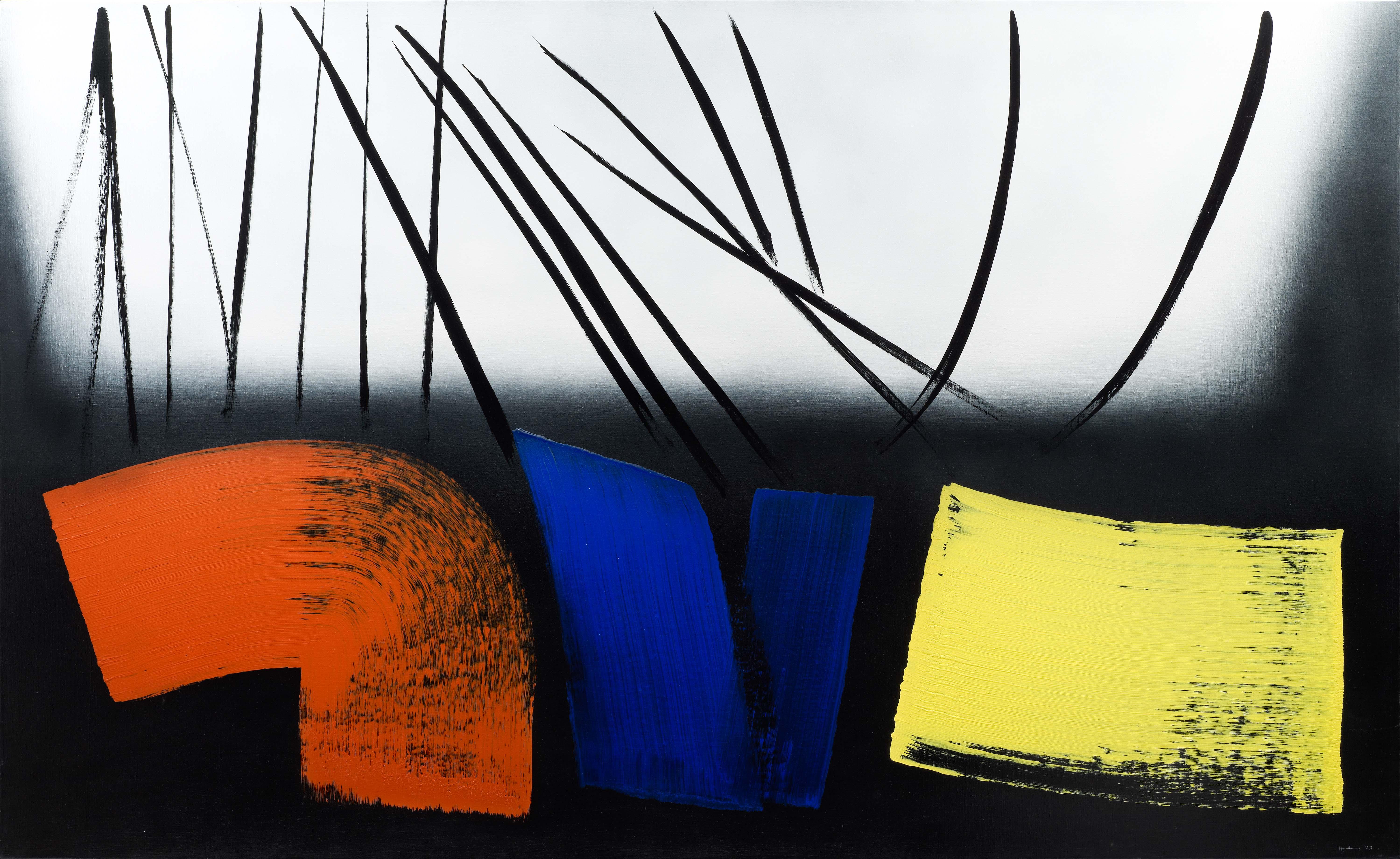 Hans Hartung, T1973-E12, 1973 Acrylique sur toile