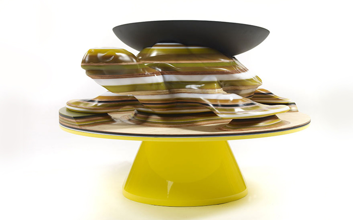 Turtle Coffee Table, Natura Magistra Collection 2009, Hella Jongerius, Galerie kreo, Resins of different color, wood- Height: 24,7 inches (63 cm) - Width: 45,2 inches (115 cm) - Depth: 36,6 inches (93 cm) Cup: - Diameter: 22,8 inches (58 cm)