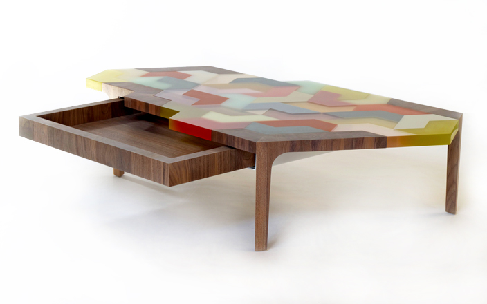 Swatch Coffee Table  2008  Hella Jongerius, Galerie kreo, Structure and drawer in American walnut wood marquetry. Table top made of multicoloured resin blocks with different finishings (mat and glossy) - Height: 13,8 inches (35 cm) - Max. length: 63,8 inches (162 cm) - Max. depth: 33,5 inches (85 cm). - Height: 2,1 inches (5,5 cm) - Length: 29,9 inches (76 cm) - Depth: 18,1 inches (46 cm)