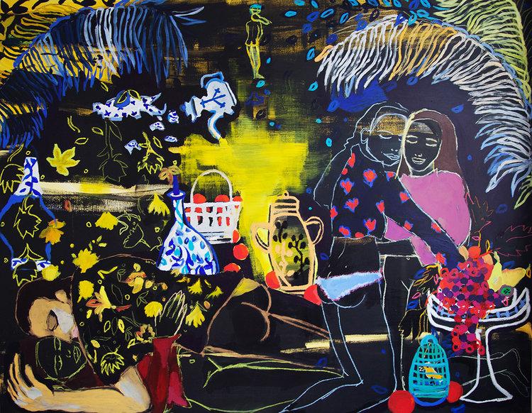 """Alice Grenier Nebout, """"l'heure du thé"""", fusain, pastel gras et acrylique sur toile, 114x146 cm, collection particulière"""