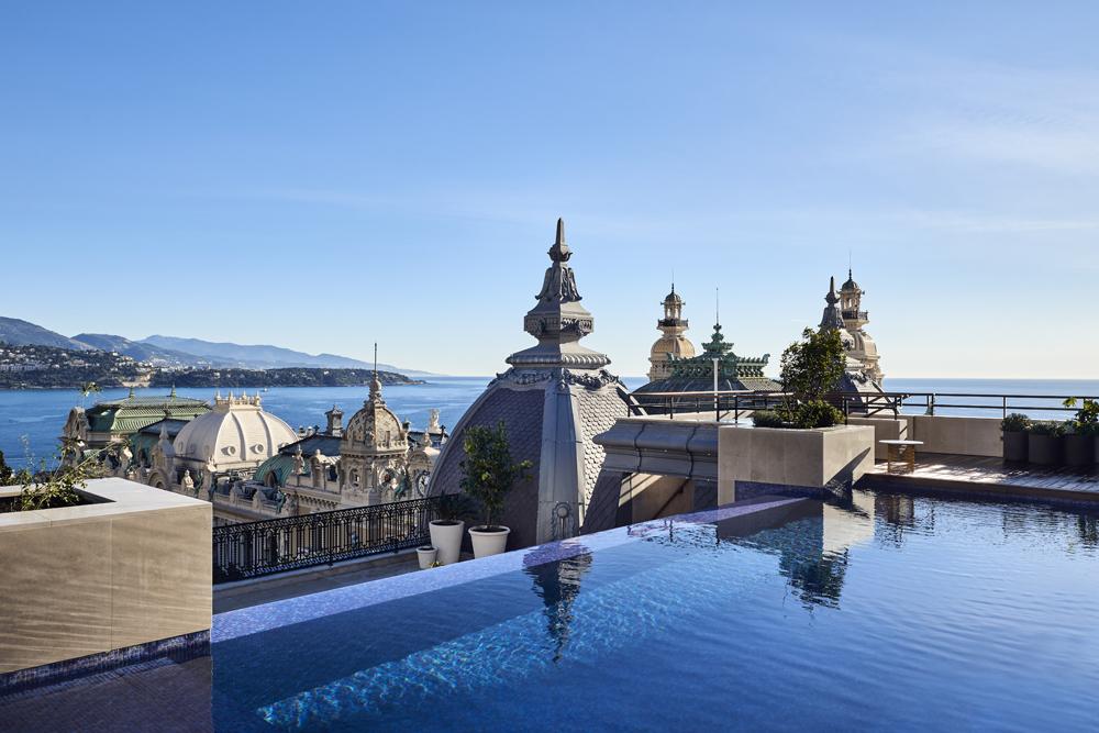 Hôtel de Paris Monte-Carlo, vue de la terrasse de la nouvelle Suite Prince Rainier III, dévoilée après quatre ans de travaux.