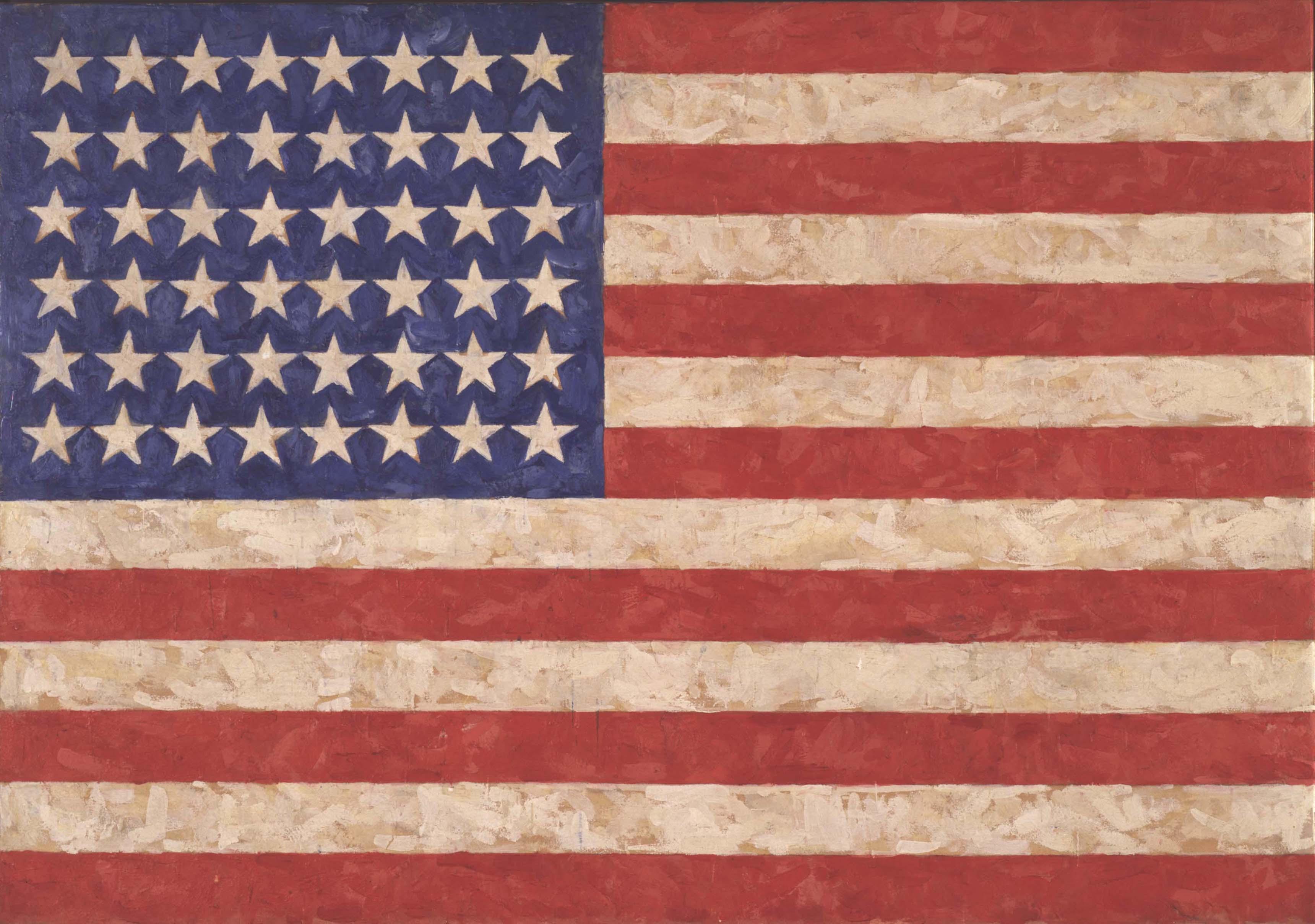 Jasper Johns, Flag, 1958. Encaustic on canvas. 105.1 x 154.9 cm. Private collection © Jasper Johns / VAGA, New York / DACS, London 2017. Photo: Jamie Stukenberg © The Wildenstein Plattner Institute, 2017