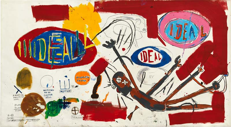 JEAN-MICHEL BASQUIAT, Victor 25448, acrylic, oilstick, wax and crayon on paper laid on canvas, 72 x 131 in. Executed in 1987. Estimate: $8,000,000 - 12,000,000.