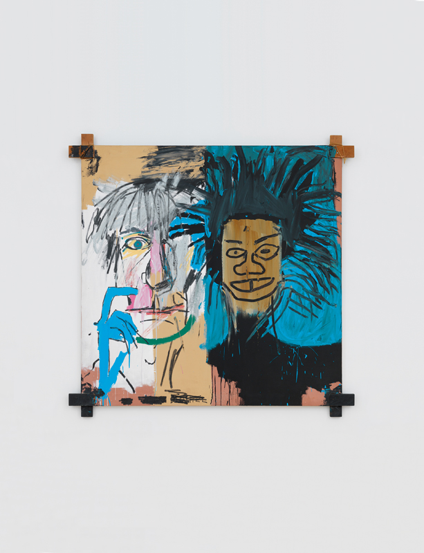 """Dos Cabezas"" (1982) de Jean-Michel Basquiat. Acrylique et pastel sur toile. 152,4 x 152,4 x 2,54 cm. 