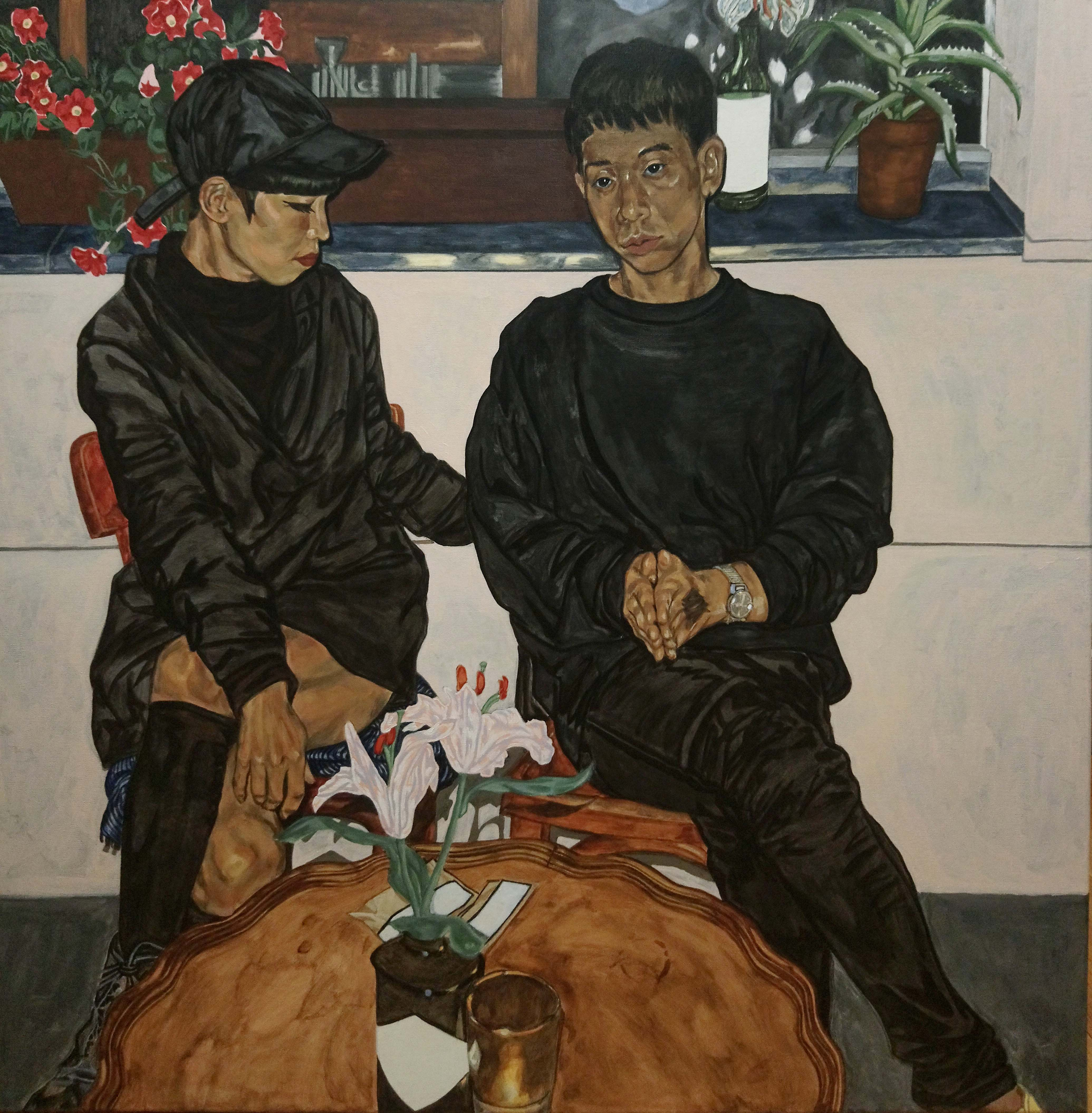 """Night Talk"" (2019), huile sur toile, 100 x 100 cm. Courtesy of the artist."
