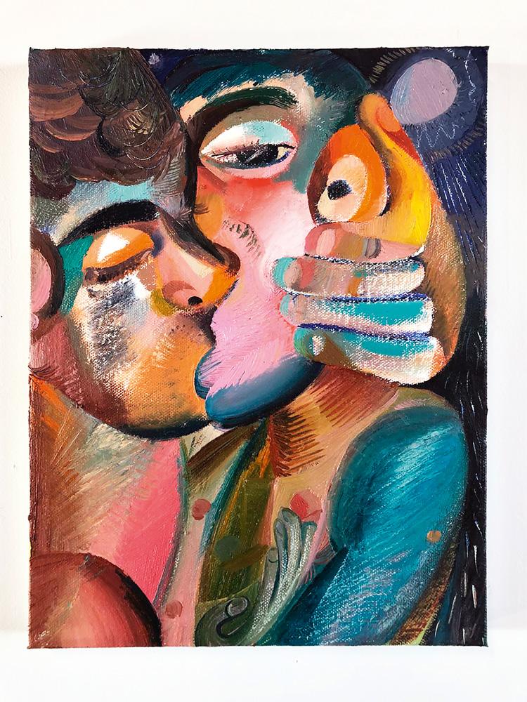 """""""Kiss and grey moon"""" (2018), de Louis Fratino. Huile et crayon sur toile, 31 × 23 cm."""