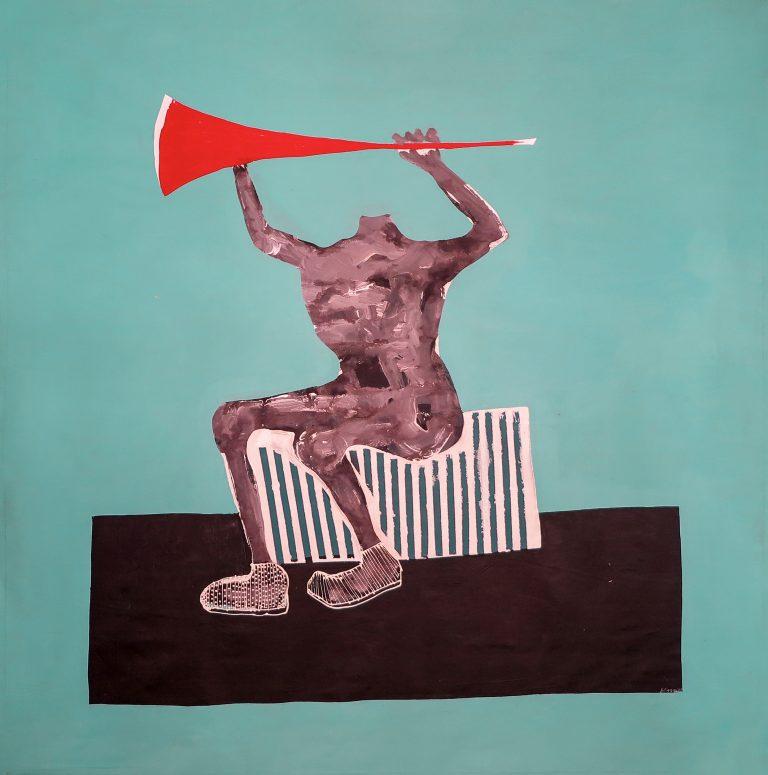 """Amadou Sanogo, """"Le raisonnement des sans tête"""", 2017. Peinture, Acrylique sur toile, 231x231 cm © MAGNIN-A/Courtesy Galerie MAGNIN-A, Paris"""