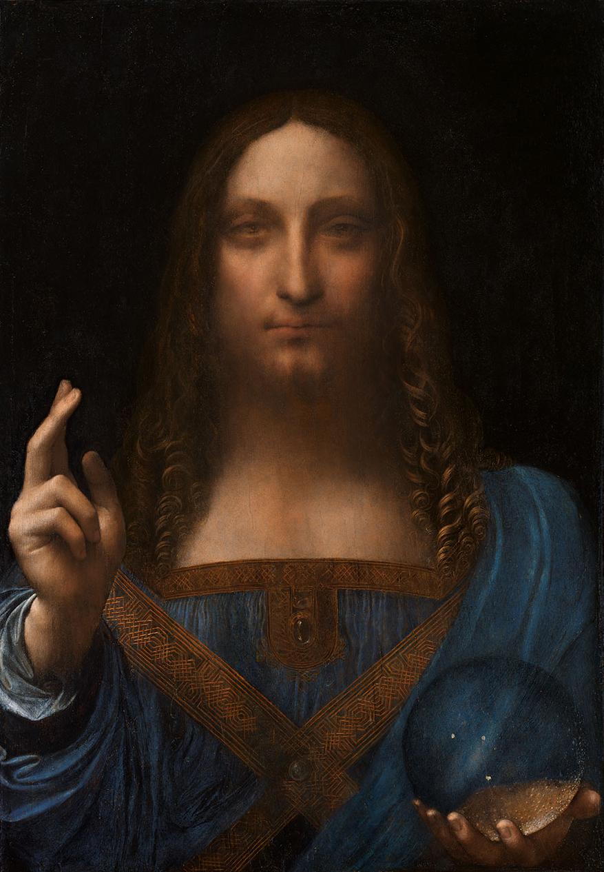 Salvator Mundi, Leonard de Vinci, peinture à l'huile sur un panneau en noyer  (65 cm sur 45 cm)