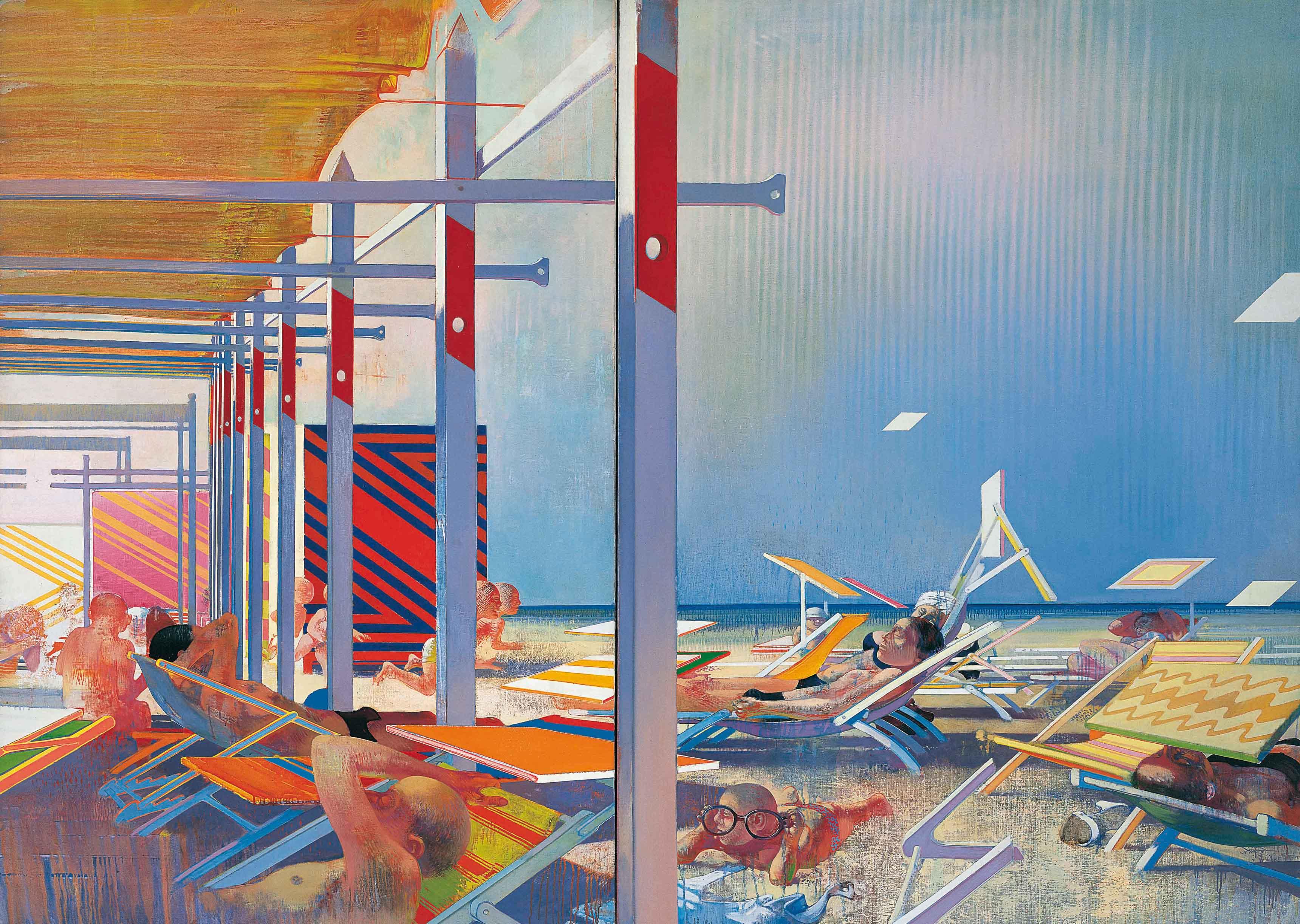 Les écrans du soleil, 1967-1968, huile sur toile, 197 x 273 cm - Leonardo Cremonini