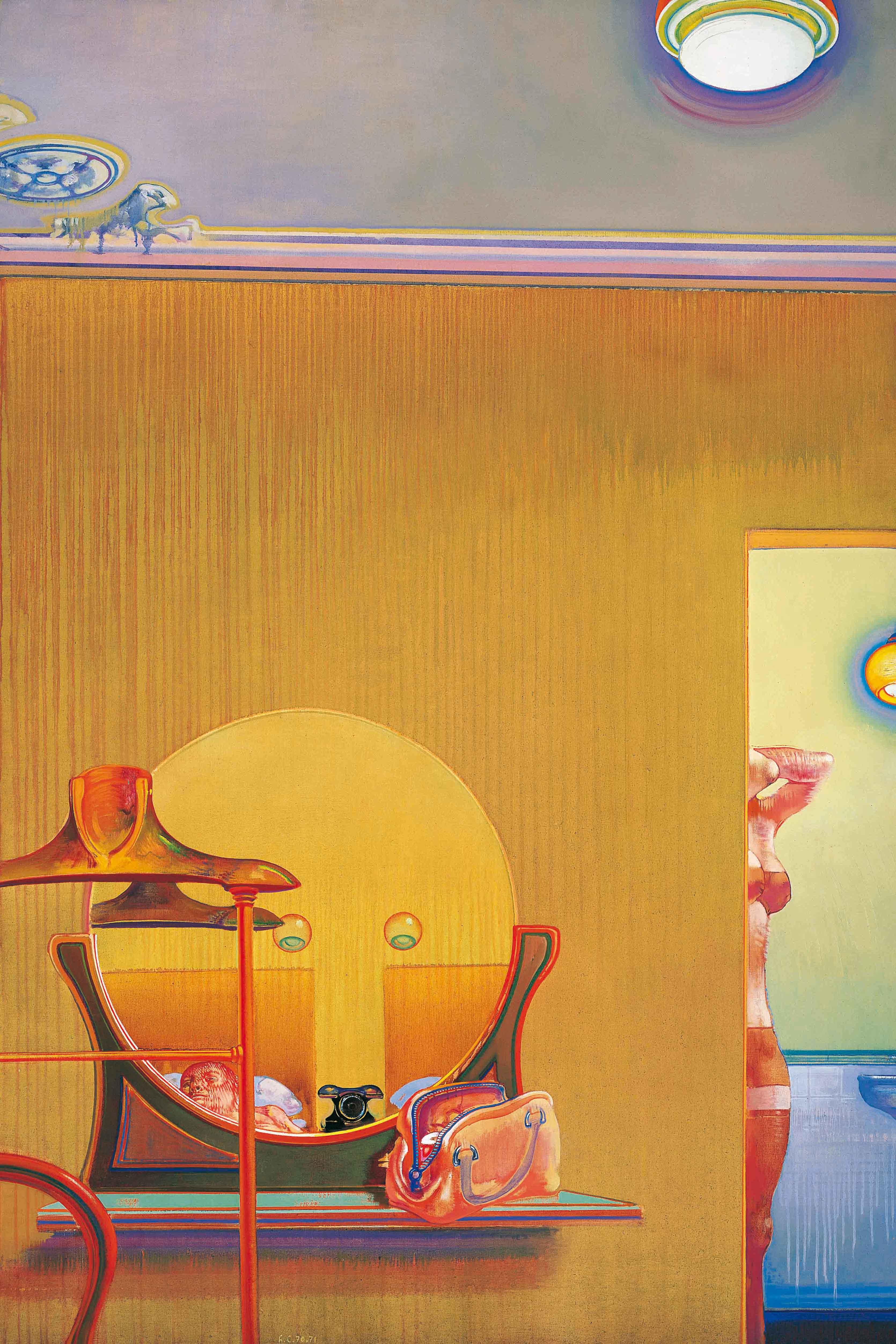 Les indiscrétions d'une chambre, 1970-1971, huile sur toile, 195 x 130 cm - Leonardo Cremonini
