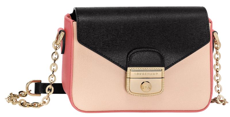 """Le sac """"Pliage Héritage"""" tricolore, en cuir de vachette et coloris poudre, noir et corail, LONGCHAMP"""