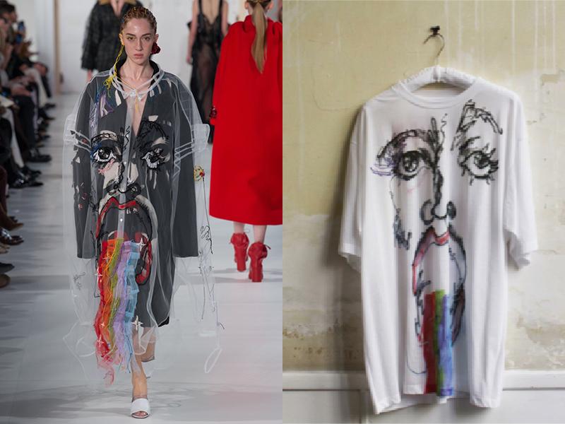 Look 7 (à gauche) ayant inspiré le tee-shirt Maison Margiela Artisanal x Maxfield (à droite)