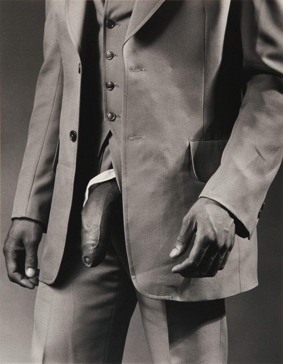 """Man in Polyester Suit"", Robert Mapplethorpe, 1980."