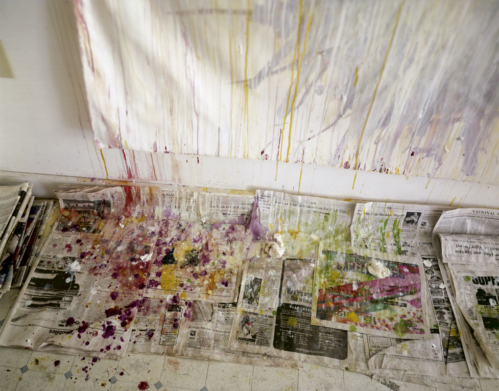 """UNTITLED"" (DRIPS AND NEWSPAPER), REMEMBERED LIGHT SERIES (1999). INKJET PRINT. FRIENDS WITH CY TWOMBLY, SALLY MANN HAS TAKEN PICTURES OF HIS STUDIO AND WORKS IN PROGRESS."