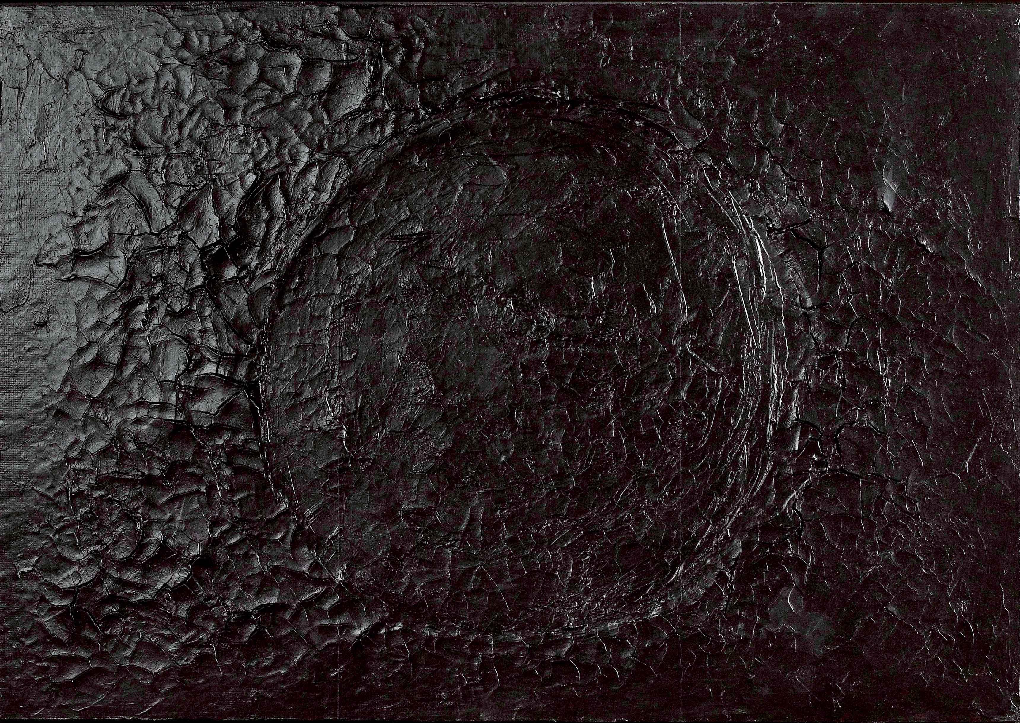Nerro Cretto (1970), d'Alberto Burri. Acrovinyl sur Celotex, 70 x 103 cm.