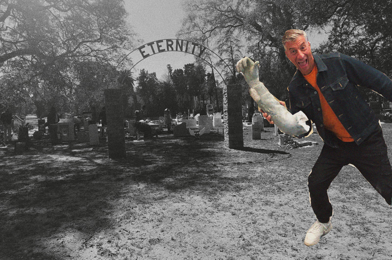 MAURIZIO CATALAN in front of ETERNITY, pop-up graveyard in Buenos Aires.