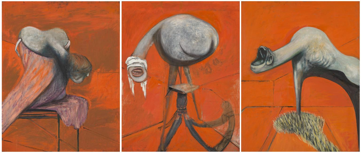 """""""Three Studies for Figures at the Base of a Crucifixion"""", Francis Bacon, 1944."""