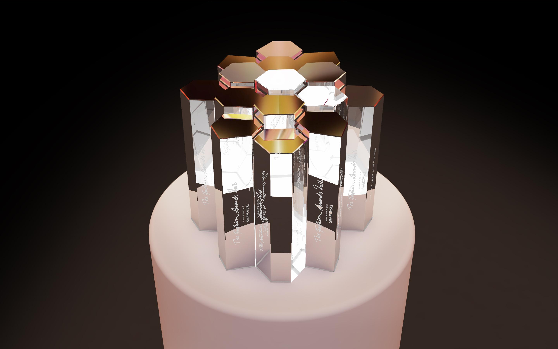 "Trophée ""British Fashion Award"" créé par Marc Newson avec Swarovski."