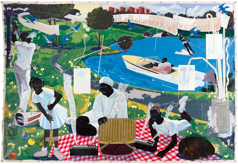 """""""Past Times"""", 1997, Kerry James Marshall. Acrylic and collage on canvas. The work was sold for more than 18 million euros at Sotheby's New York in May 2018."""