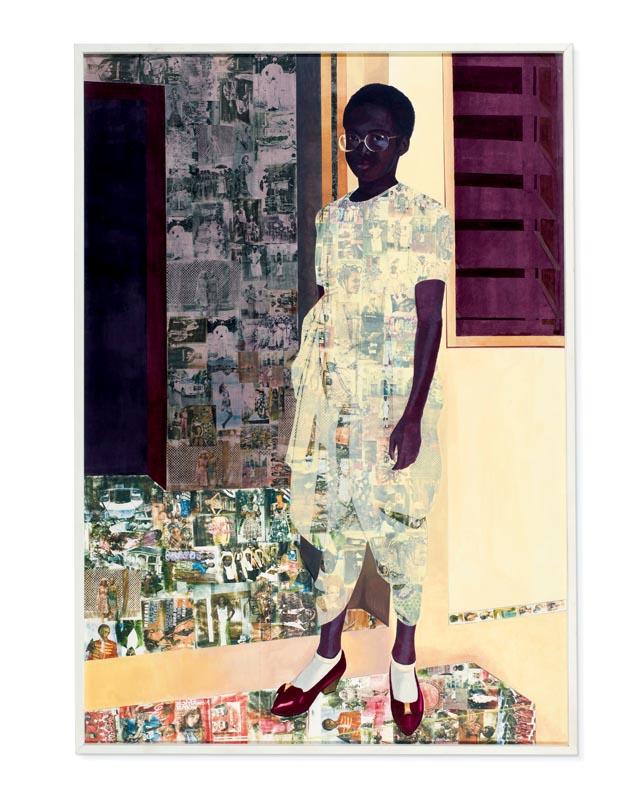"""""""The Beautyful Ones"""" (2012), Njikeda Akunyili Crosby. Acrylique, pastel, crayons de couleur et transfert Xerox sur papier, 243 x 170 cm. L'œuvre a été vendue près de 3 millions d'euros chez Christie's Londres, en mars 2017."""