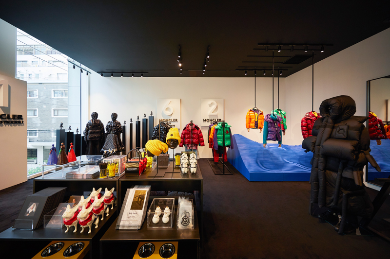 The House of Genius in Tokyo, Moncler's new concept store. Back left 6- Moncler Noir Kei Ninomiya, back right 2- Moncler 1952, front right 5- Moncler Craig Green