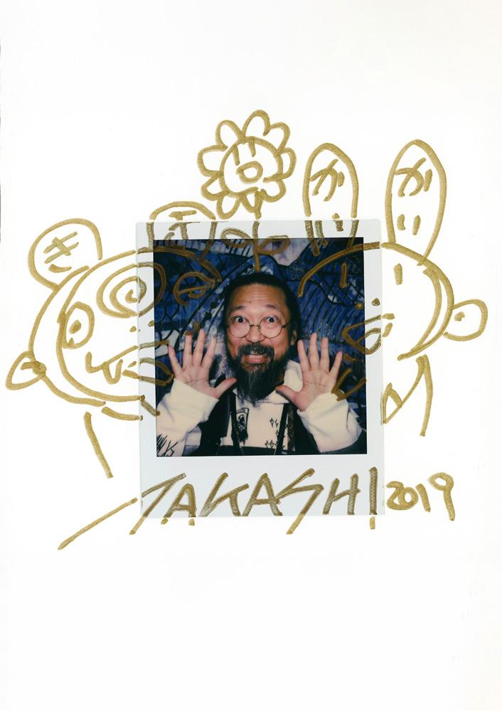 "Dessin réalisé par Takashi Murakami pour ""Numéro art"" (Polaroid de Rayan Nohra)."