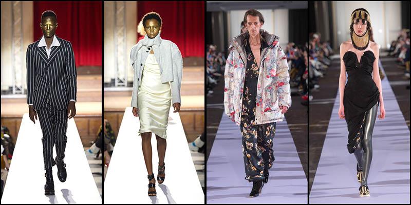 Look 1et 2 : Vivienne Westwood automne-hiver 2019-2020. Look 3 et 4: Andreas Kronthaler pour Vivienne Westwood automne-hiver 2019-2020