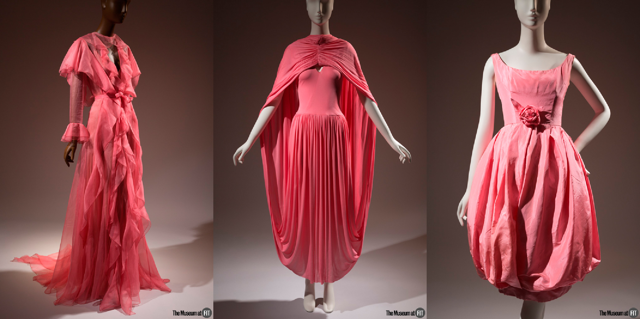 Gucci dress - Spring 2016, Italy, gift of Gucci.  Céline dress - Spring 2017, France, gift of Céline. 2017.19.1 Christian Dior, 1960, France, museum purchase.