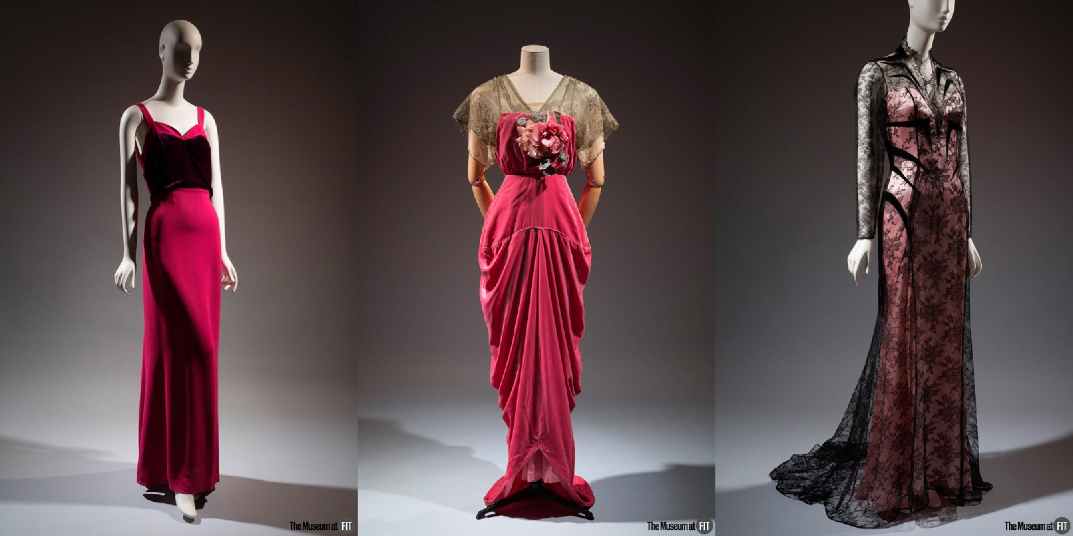 Elsa Schiaparelli gown - Summer 1937, Museum Purchase. Robert evening gown - 1910-1914, France, Museum Purchase.  Thierry Mugler evening gown - 1994, Museum Purchase.