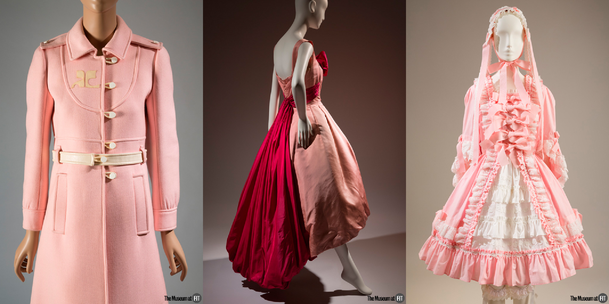 Courrèges coat - 1967, France, gift of Mrs. Phillip Schwartz. Evening dress - Circa 1954, USA, gift of Virginia Pope. Baby, the Stars Shine Bright ensemble - 2009, Japan, museum purchase.