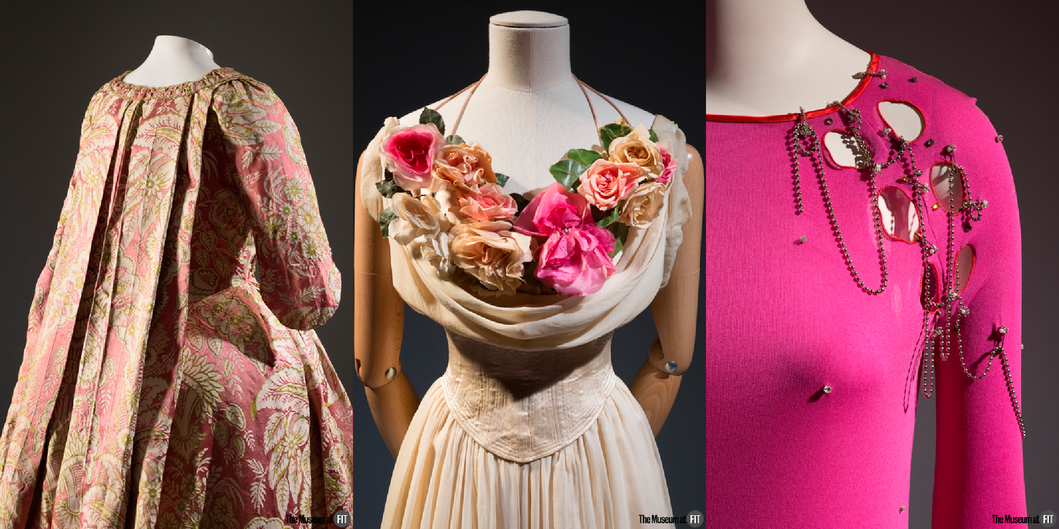 Dress - 18th century, museum purchase. Charles James dress - 1937, gift of Mrs. John Hammond.  Zandra Rhodes ensemble - 1978, England, museum purchase.