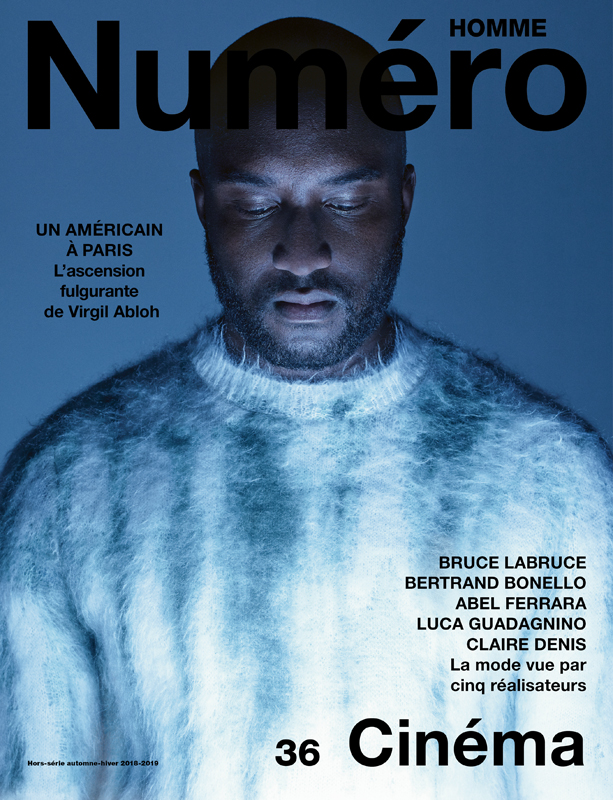 Virgil Abloh, photographed by Jean-Baptiste Mondino, wears a mohair and wool sweater, Louis Vuitton. Direction: Jean Michel Clerc. Hair and make-up: Christos Vourlis at Calliste Agency. Digital: Dope Paris. Retouching: Janvier. Production: Iconoclast Image.
