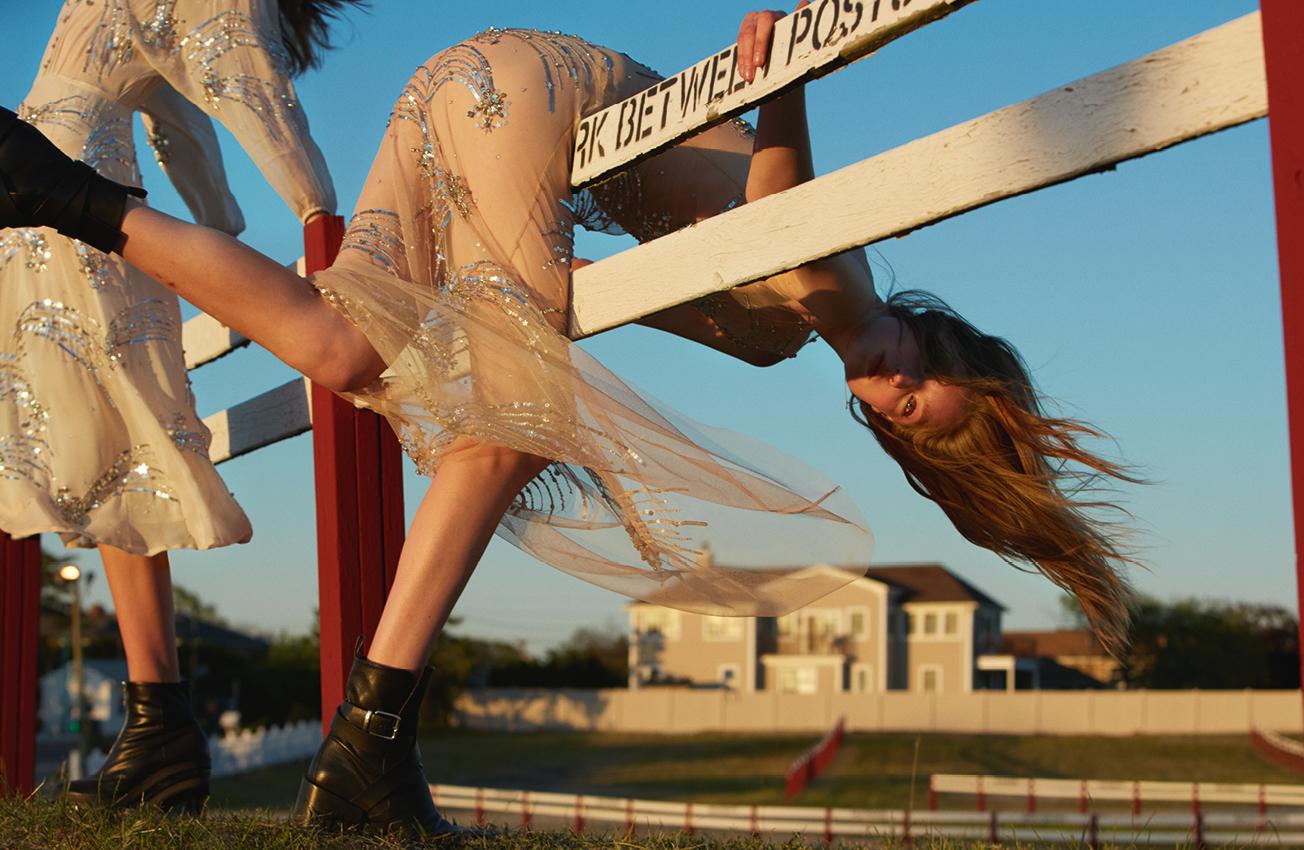 Dress, ELISABETTA FRANCHI. Boots, JIL SANDER. Boots, SACAI.