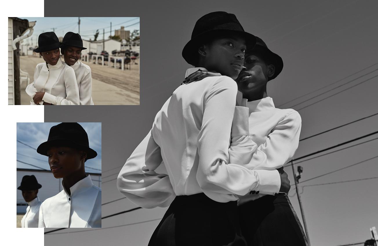 Chemises en soie, pantalons de smoking en coton et satin, et chapeaux, GIORGIO ARMANI.