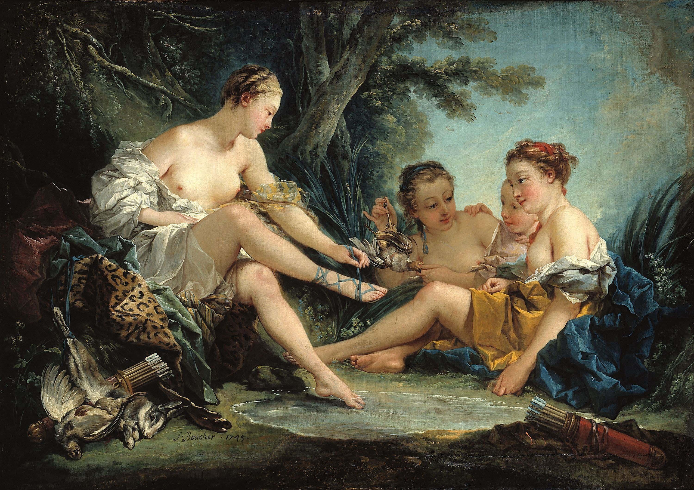 """François Boucher, """"Diane returns from hunting"""" (1745). Musée Cognacq-Jay, le musée du XVIIIe."""