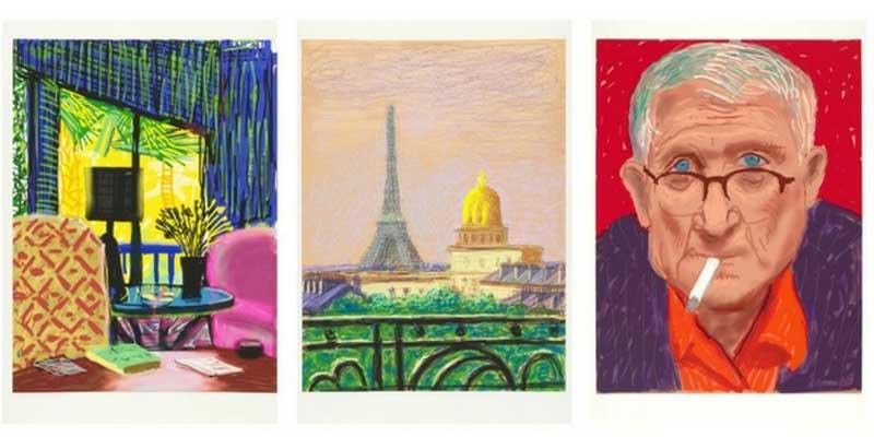 """David Hockney. Montcalm Interior, 2010. 94 x 71 cm ; Eiffel Tower by Day, 2010. 94 x 71 cm ; """"Self Portrait III, 20 March 2012"""". 94 x 71 cm. Dessins sur iPad, impressions papier, 25 exemplaires chacun © David Hockney. Photo Credit : Richard Schmidt. Courtesy Galerie Lelong & Co Paris."""